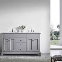 "EVVN709 60GR A 01 202x202 - Eviva Elite Stamford 60"" Gray Solid Wood Bathroom Vanity Set with Double OG White Carrera Marble Top & White Undermount Porcelain Sinks"