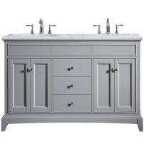 "EVVN709 60GR A Main 202x202 - Eviva Elite Stamford 60"" Gray Solid Wood Bathroom Vanity Set with Double OG White Carrera Marble Top & White Undermount Porcelain Sinks"