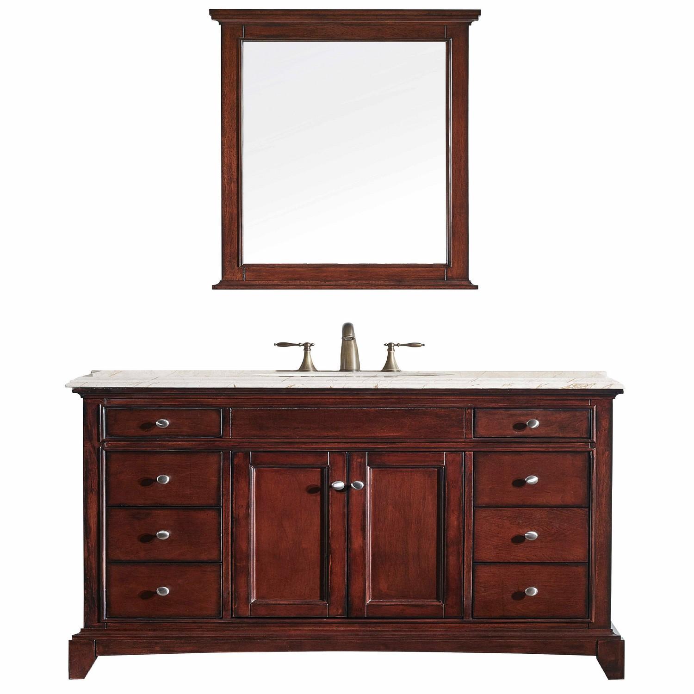 Eviva Elite Stamford 60 Brown Teak Solid Wood Single Bathroom Vanity Set With Double Og Crema Marfil Marble Top White Undermount Porcelain Sink