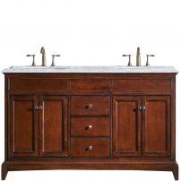 "EVVN709 60TK A Main 202x202 - Eviva Elite Stamford 60"" Brown Solid Wood Bathroom Vanity Set with Double OG Crema Marfil Marble Top & White Undermount Porcelain Sinks"