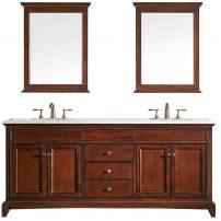 "EVVN709 72TK A Main 202x202 - Eviva Elite Stamford 72"" Brown Solid Wood Bathroom Vanity Set with Double OG Crema Marfil Marble Top & White Undermount Porcelain Sinks"