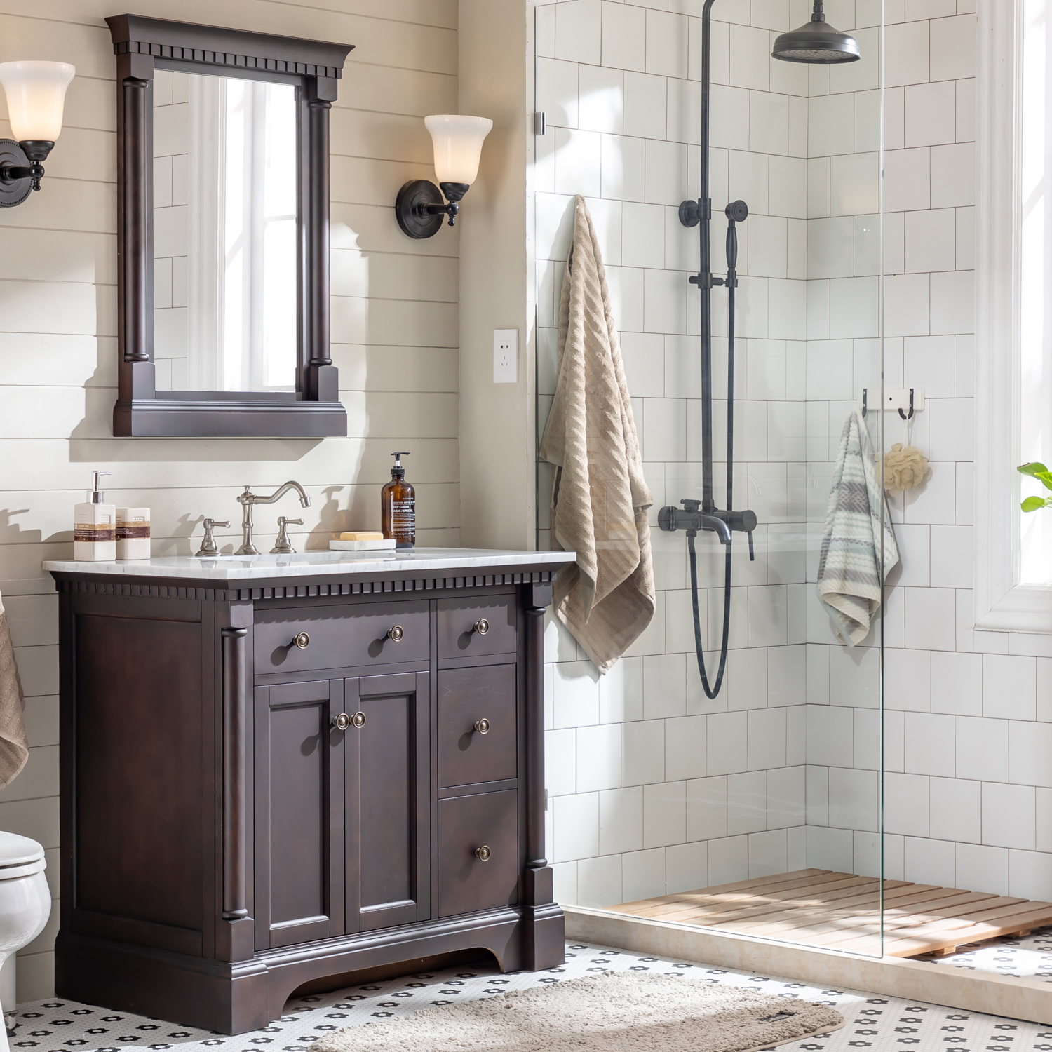 Eviva Preston 37 In Aged Chocolate Bathroom Vanity With White Carrara Marble Countertop And Undermount Sink