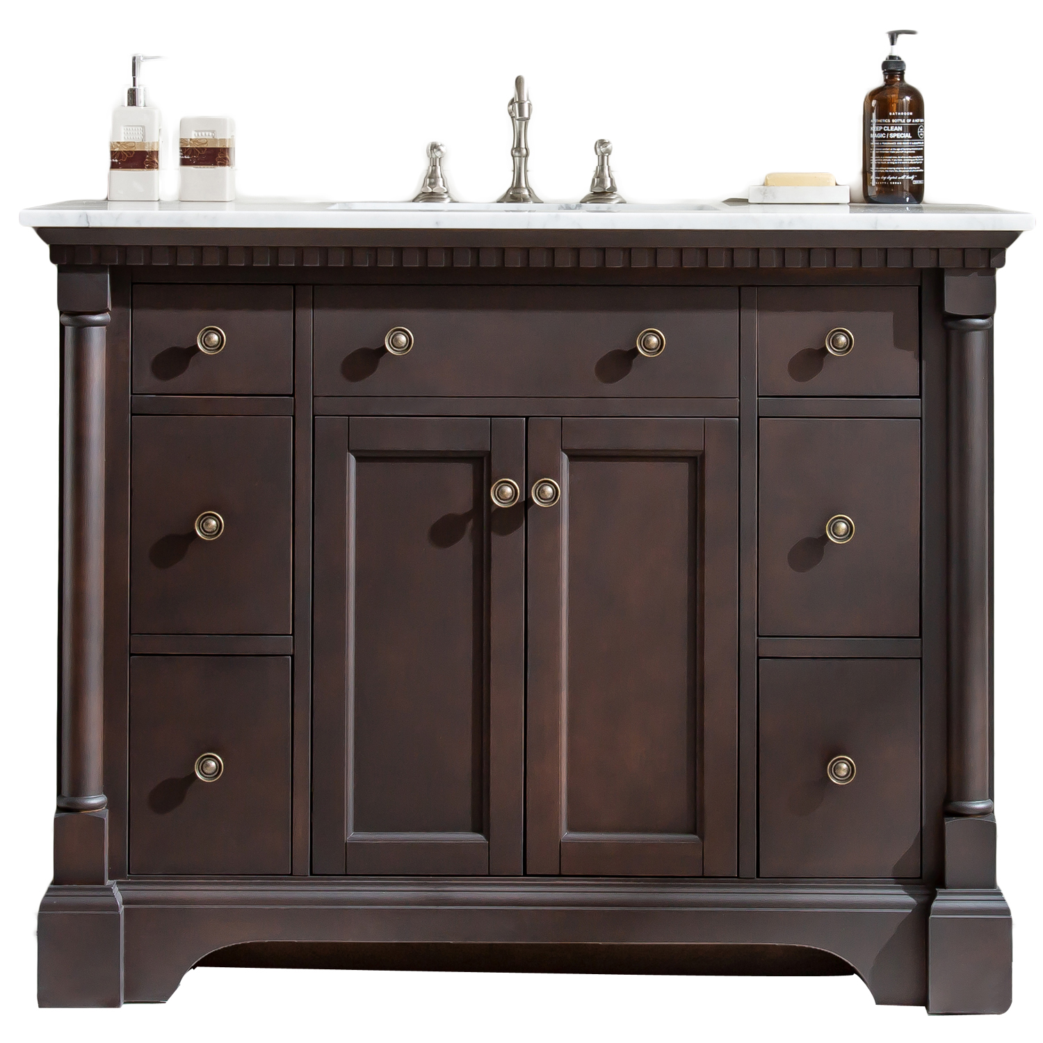 Eviva Preston 49 In Aged Chocolate Bathroom Vanity With White Carrara Marble Countertop And Undermount Sink
