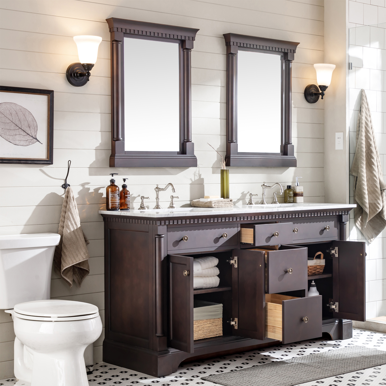 Eviva Preston 73 In Aged Chocolate Bathroom Vanity With White Carrara Marble Countertop And Double Undermount Sinks