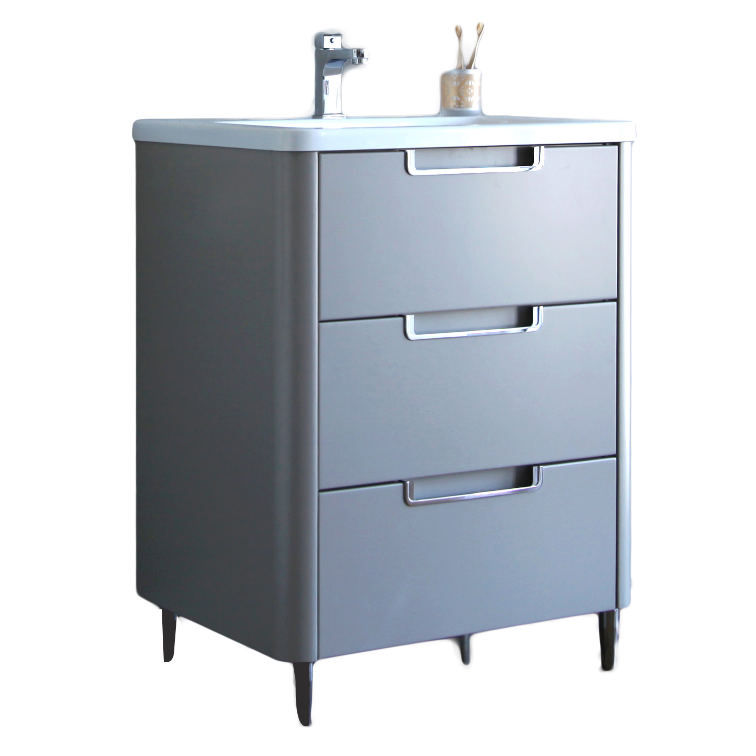EVVN74 32GR A Main - Eviva Marbella 32 in. Bathroom Vanity in Fossil Gray and White Integrated Acrylic Countertop