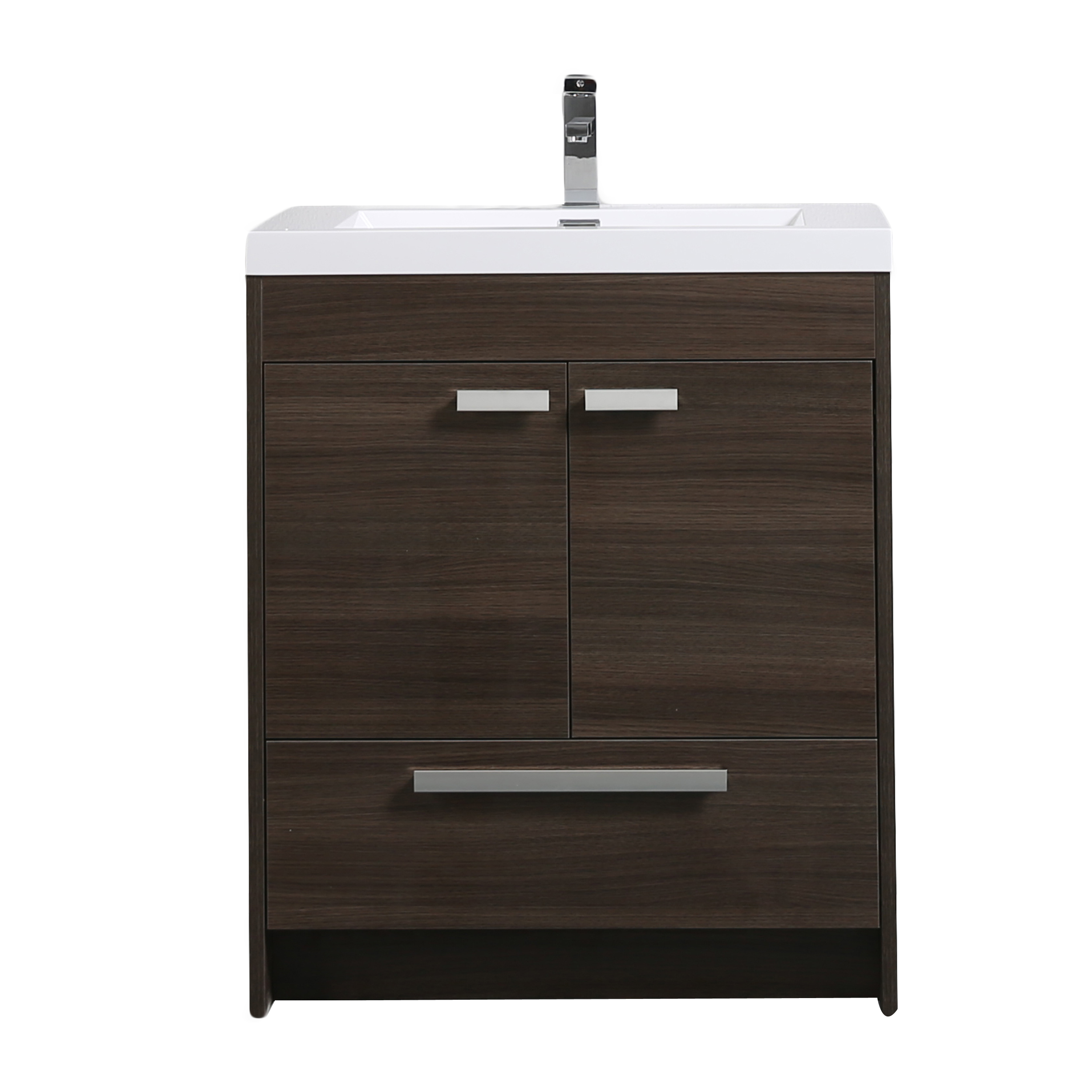 "EVVN750 3 30GOK A Main - Eviva Lugano 30"" Grey Oak Modern Bathroom Vanity with White Integrated Acrylic Sink"