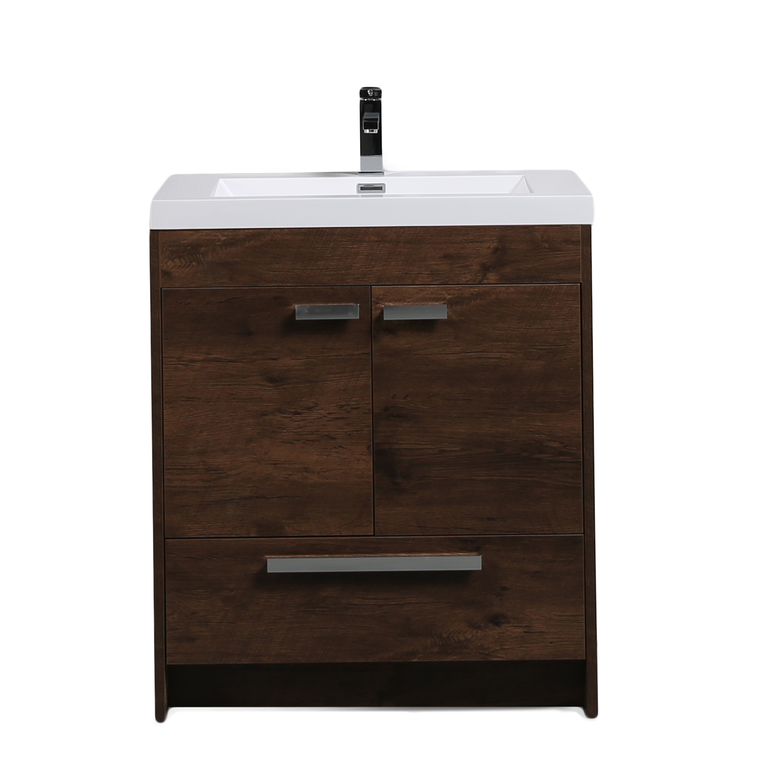 "EVVN750 3 30RSWD A Main - Eviva Lugano 30"" Rosewood Modern Bathroom Vanity with White Integrated Acrylic Sink"