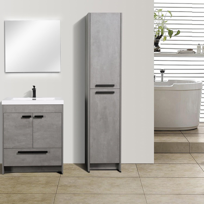 Eviva Lugano 30 Cement Grey Modern Bathroom Vanity With White Integrated Acrylic Sink
