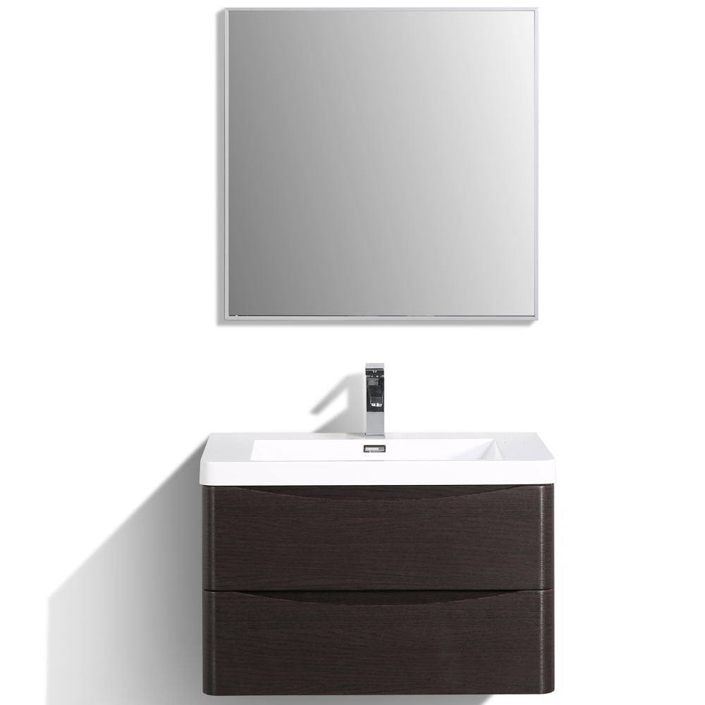 "EVVN760 30CHNT WM A Main - Eviva Smile 30"" Chest-nut Modern Bathroom Vanity Set with Integrated White Acrylic Sink"