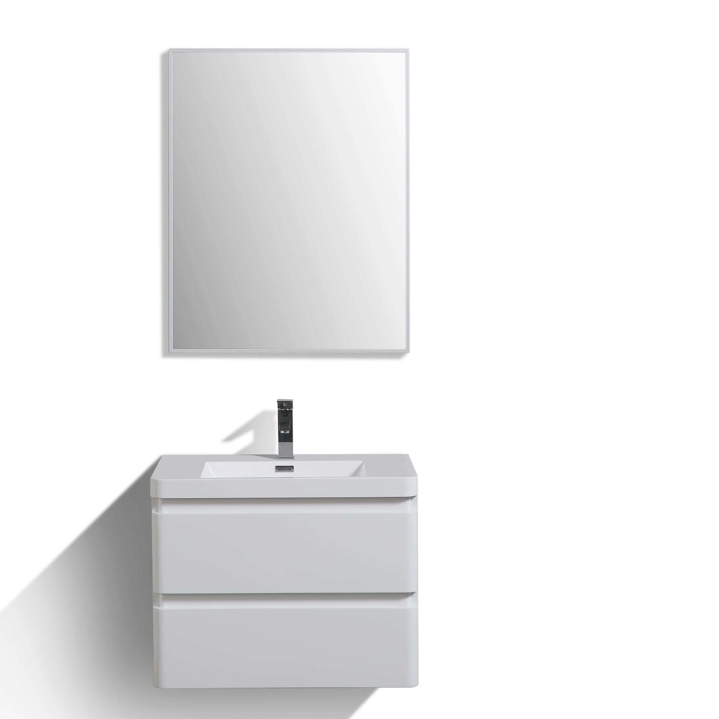 "EVVN760 30WH WM A Main - Eviva Smile 30"" White Wall Mount Modern Bathroom Vanity Set with Integrated White Acrylic Sink"