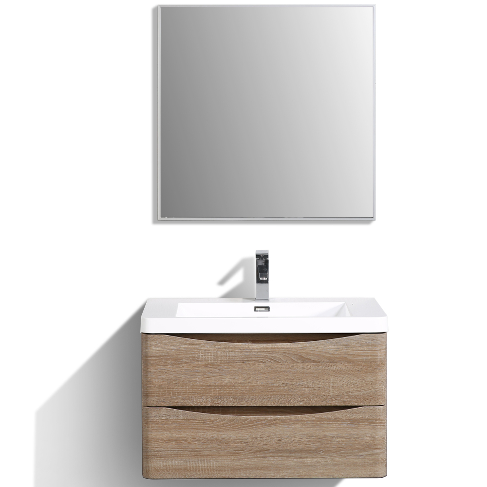 "EVVN760 30WHOK WM A Main - Eviva Smile 30"" White Oak Wall Mount Modern Bathroom Vanity Set with Integrated White Acrylic Sink"
