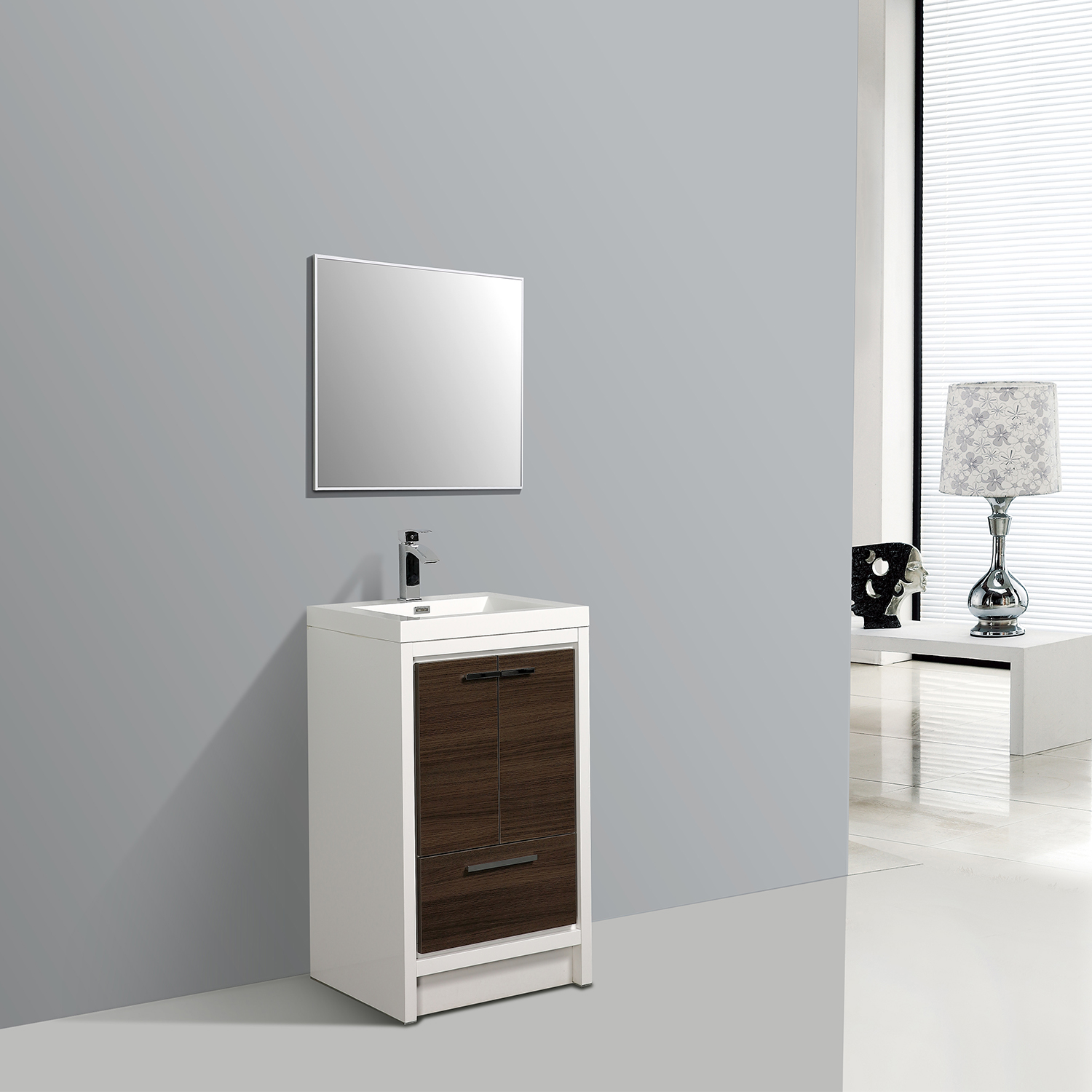 EVVN765 24GOK WH A Main - Eviva Grace 24 in. Gray Oak and White Bathroom Vanity with White Integrated Acrylic Countertop