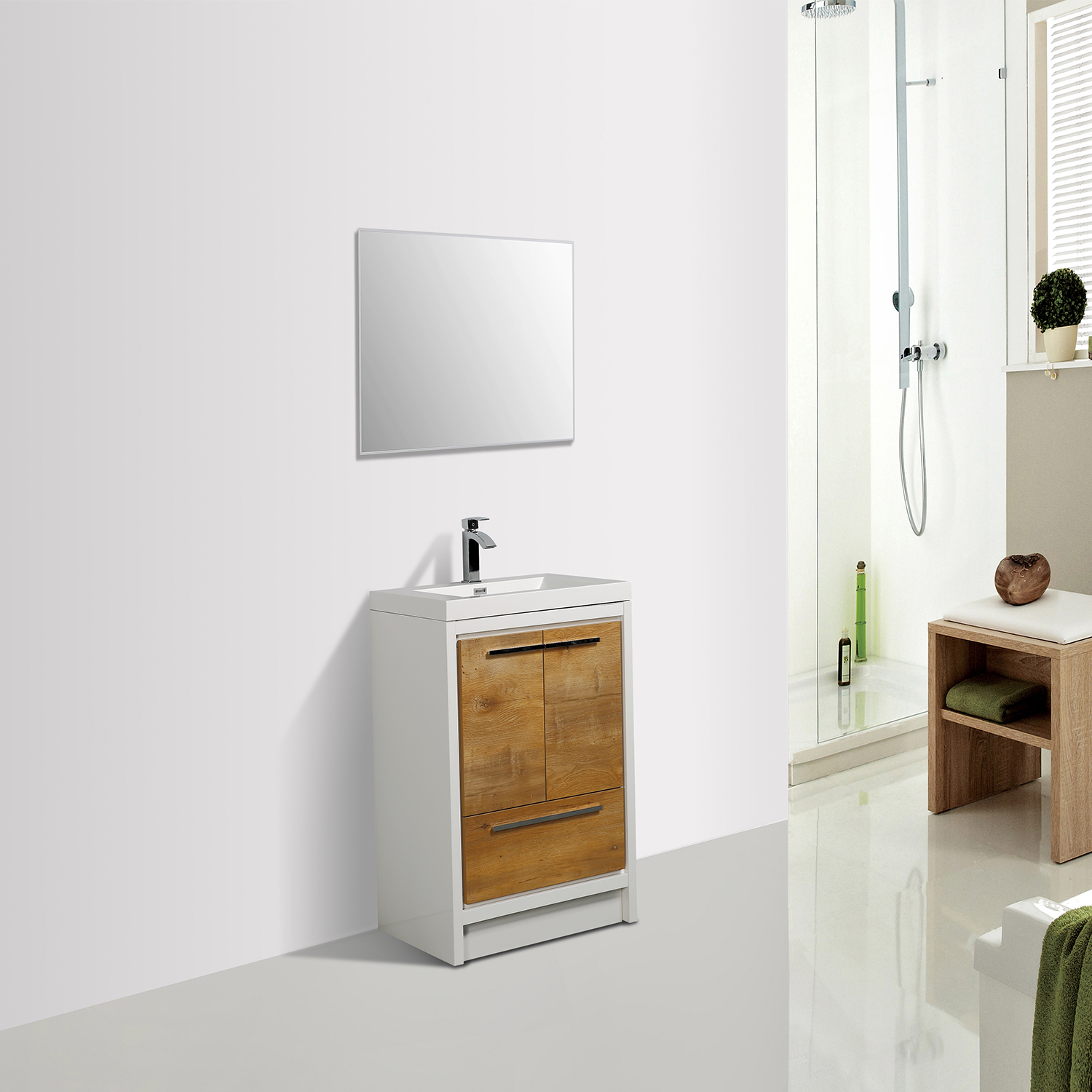 EVVN765 30NOK WH A Main - Eviva Grace 30 in. Natural Oak and White Bathroom Vanity with White Integrated Acrylic Countertop