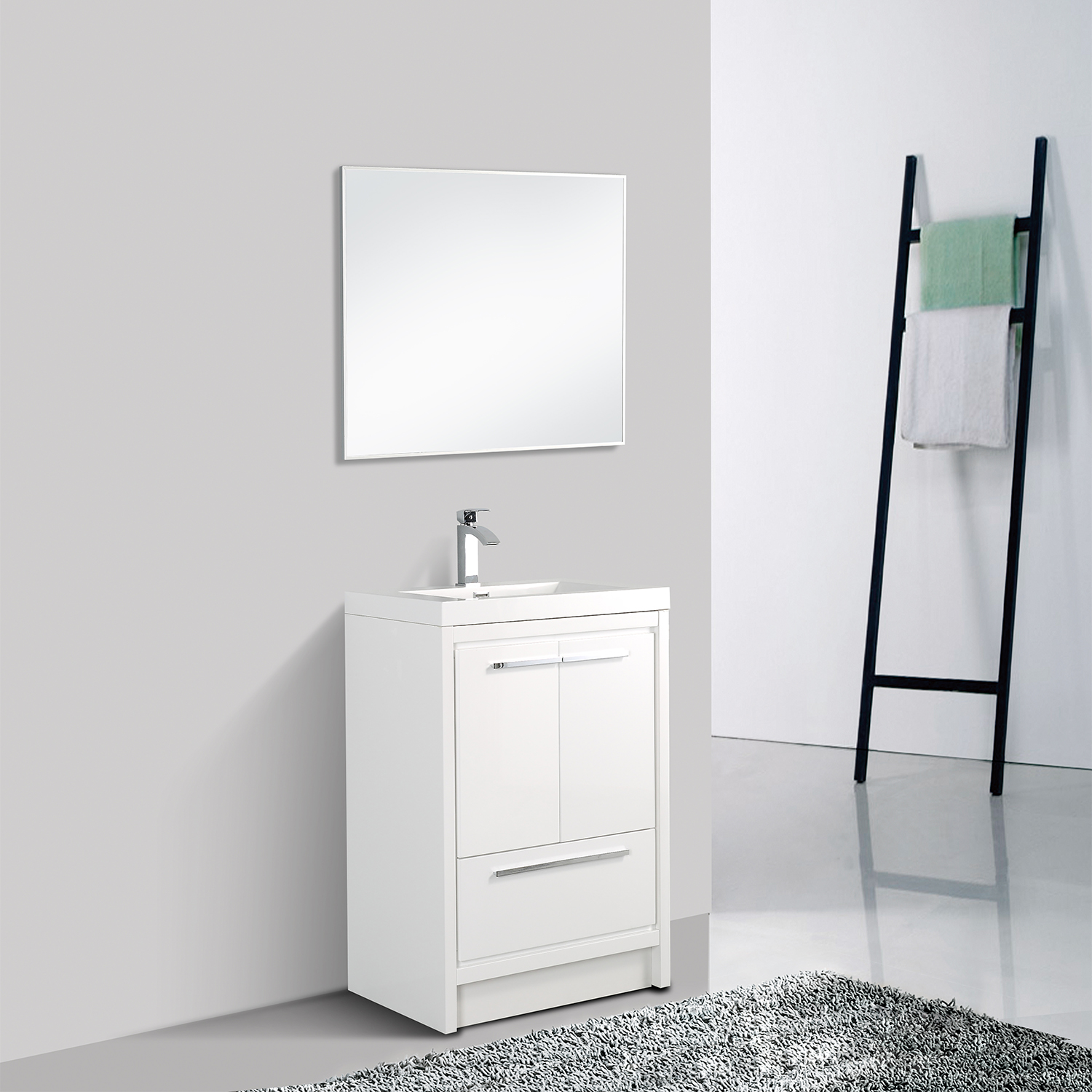 EVVN765 30WH A Main - Eviva Grace 30 in. White Bathroom Vanity with White Integrated Acrylic Countertop