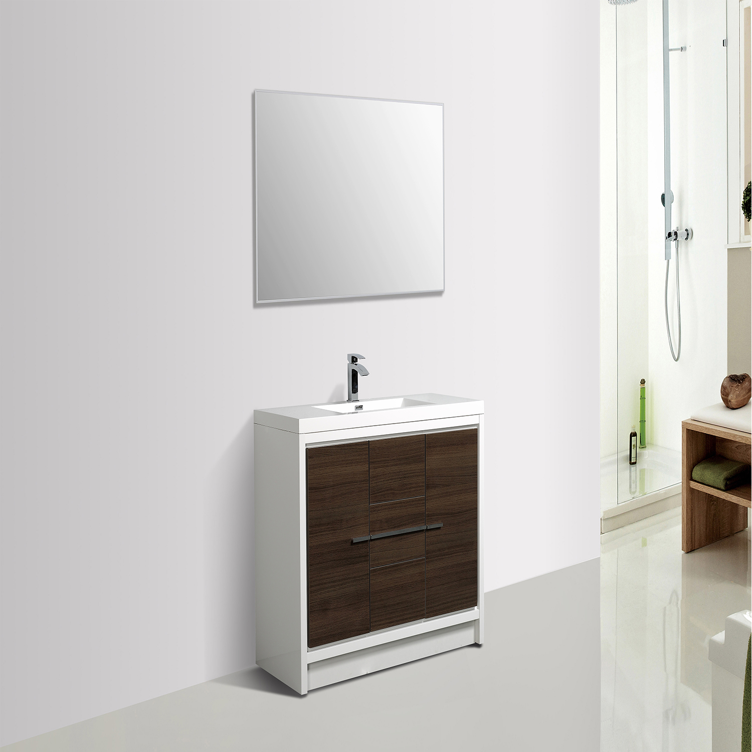 EVVN765 36GOK WH A Main - Eviva Grace 36 in. Gray Oak and White Bathroom Vanity with White Integrated Acrylic Countertop