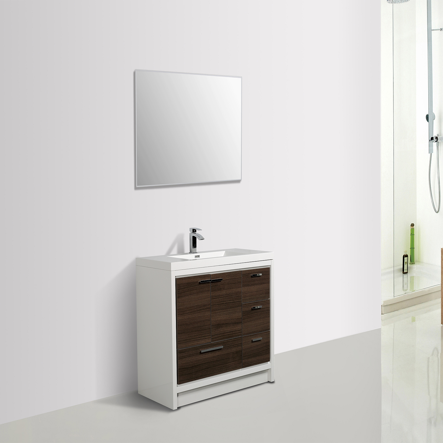 EVVN765 42GOK WH A Main - Eviva Grace 42 in. Gray Oak and White Bathroom Vanity with White Integrated Acrylic Countertop