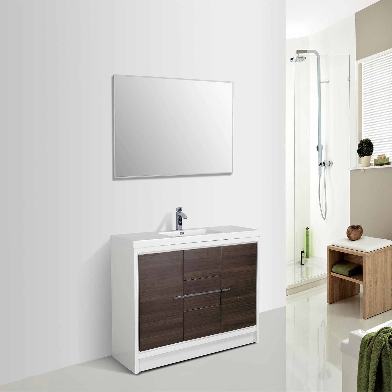 . Eviva Grace 60 in  Gray Oak and White Bathroom Vanity with Single White  Integrated Acrylic Countertop