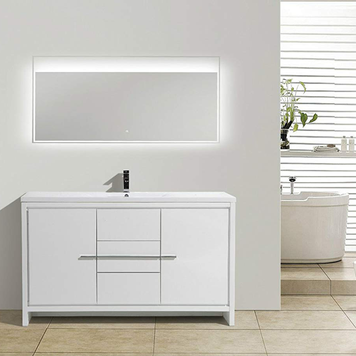EVVN765 60WH SS A Main - Eviva Grace 60 in. White Bathroom Vanity with Single White Integrated Acrylic Countertop