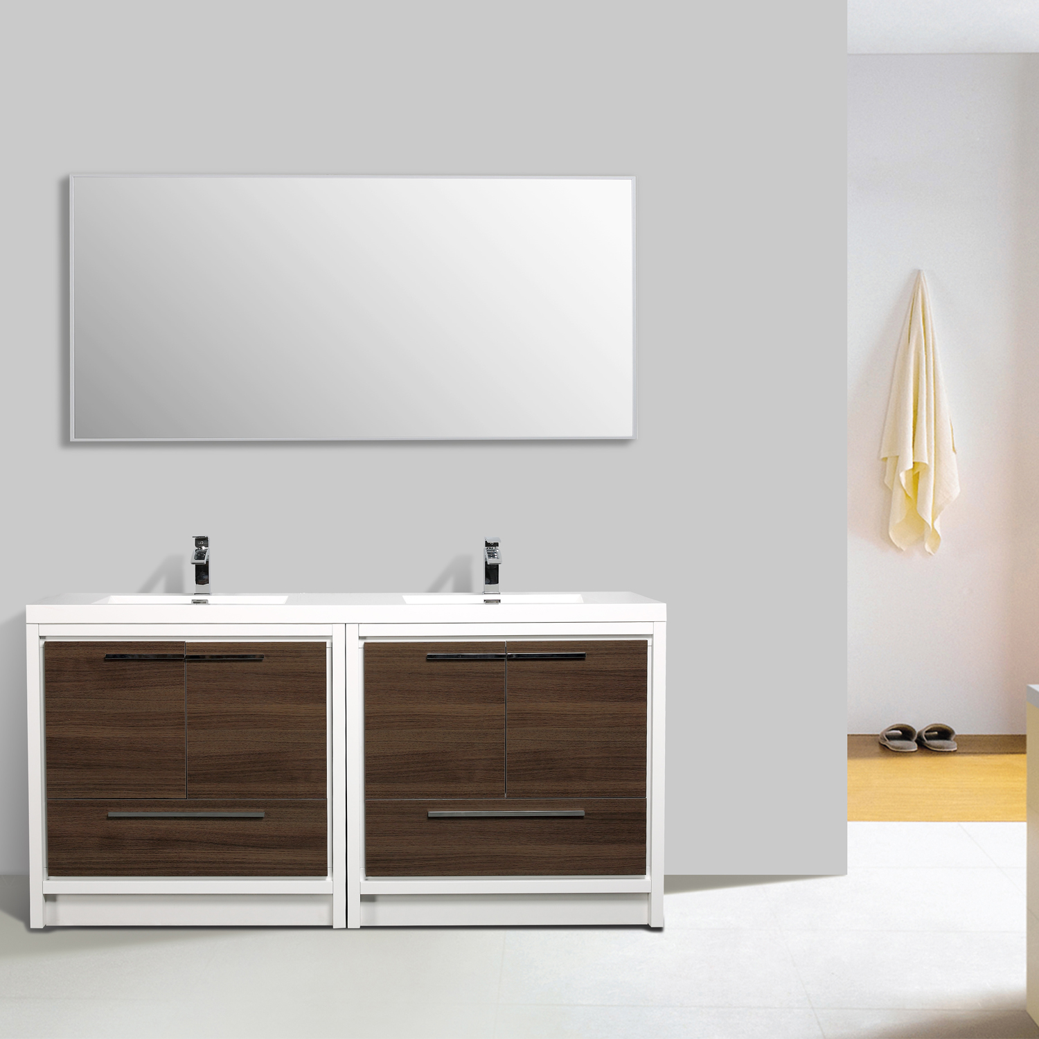 EVVN765 72GOK WH A Main - Eviva Grace 72 in. Gray Oak and White Bathroom Vanity with Double White Integrated Acrylic Countertop