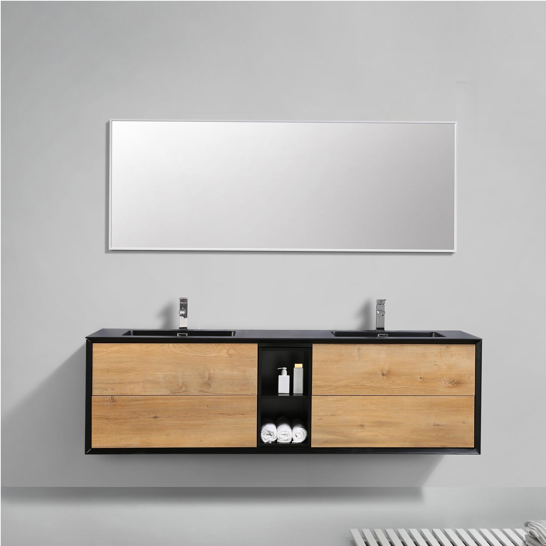 Eviva Vienna 75 In Oak Black Wall Mount Bathroom Vanity