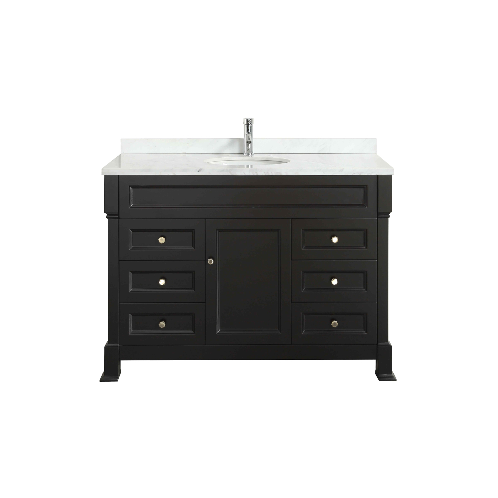 "EVVN78 48ES A Main - Eviva Tim 48"" Espresso Bathroom Vanity with White Carrera Counter-top & Porcelain Sink"