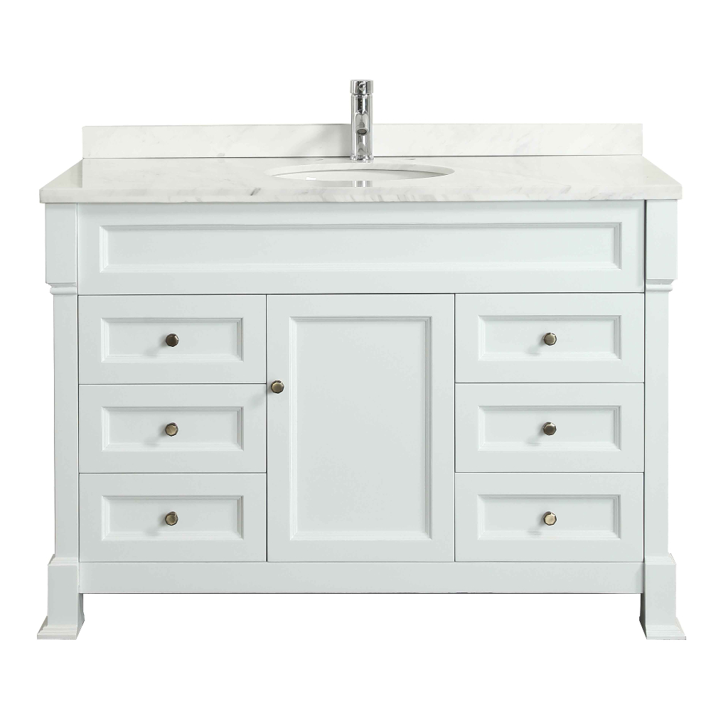 Eviva Tim 48″ White Bathroom Vanity With White Carrera Counter-top &  Porcelain Sink