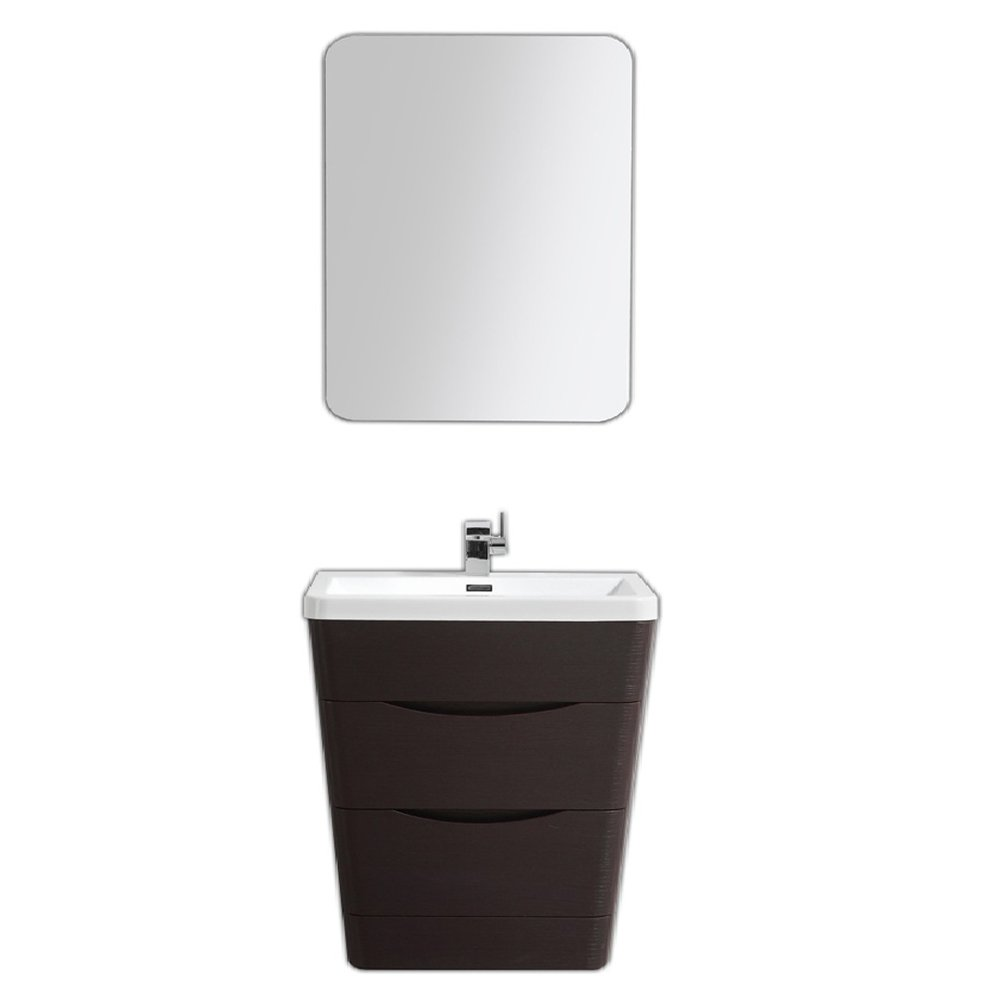 """EVVN800 32CHNT A Main - Eviva Victoria 32"""" Chest Nut Modern Bathroom Vanity with White Integrated Acrylic Sink"""