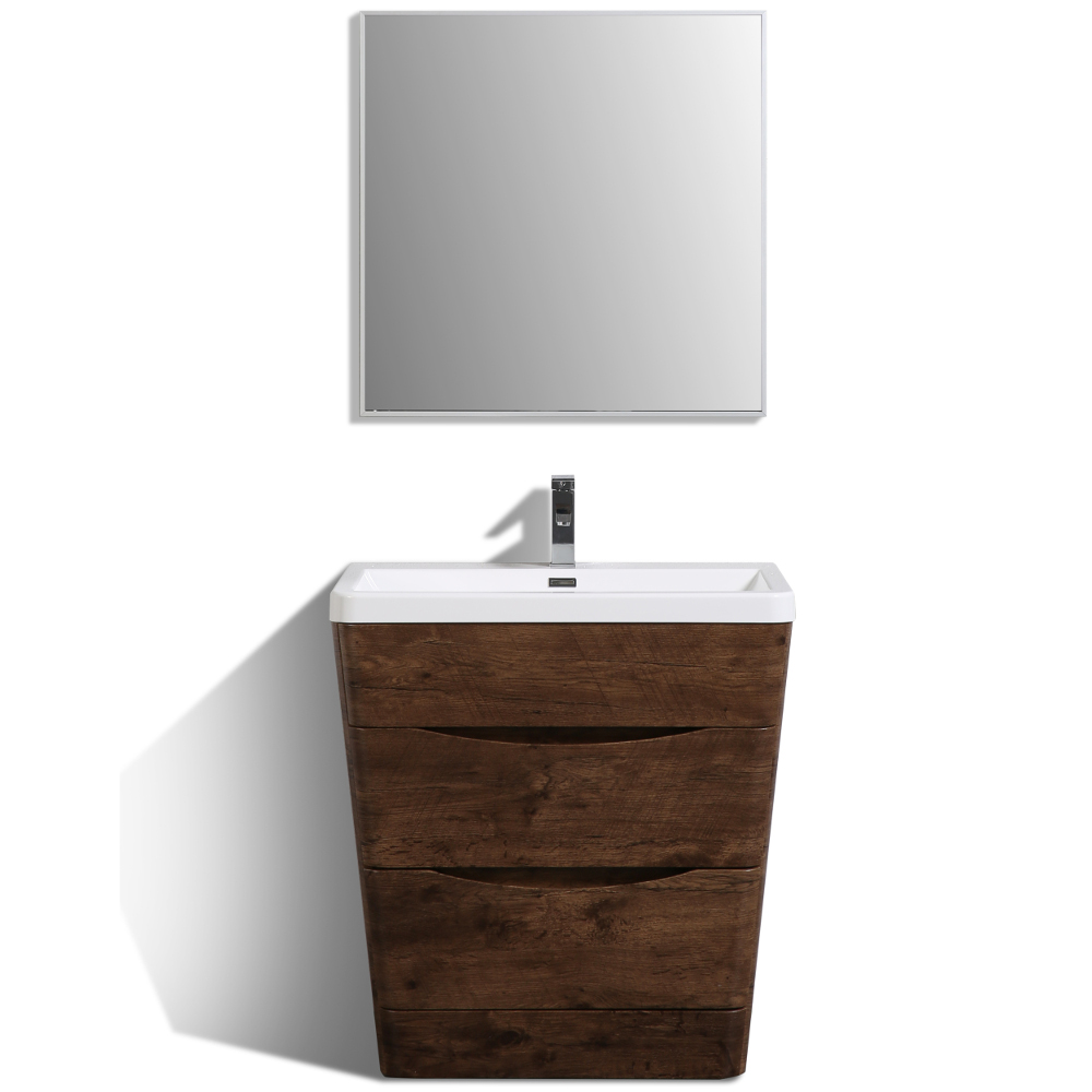 "EVVN800 32RSWD A Main - Eviva Victoria 32"" Rosewood Modern Bathroom Vanity with White Integrated Acrylic Sink"