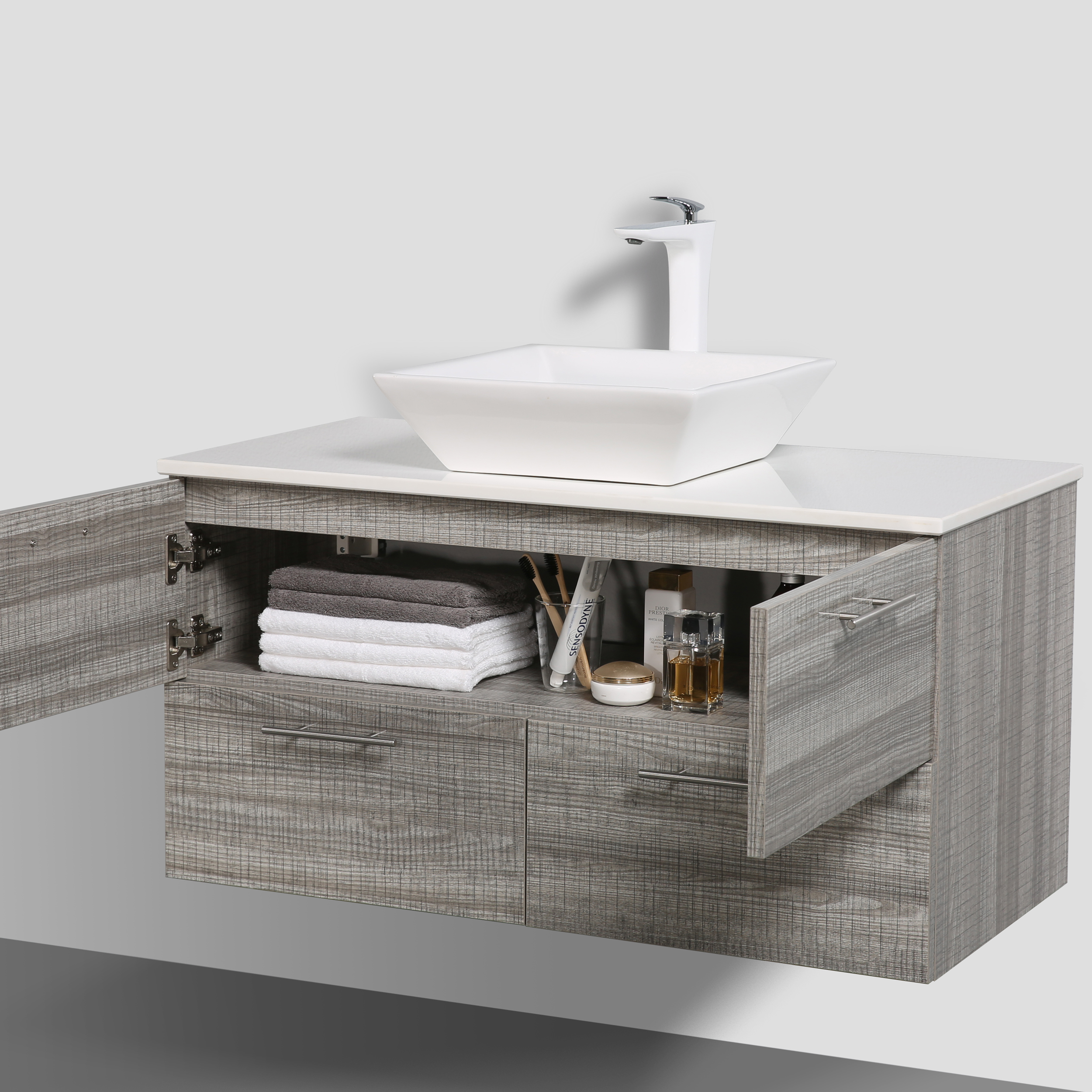 Eviva Luxury 40 Inch Ash Bathroom Vanity With Porcelain