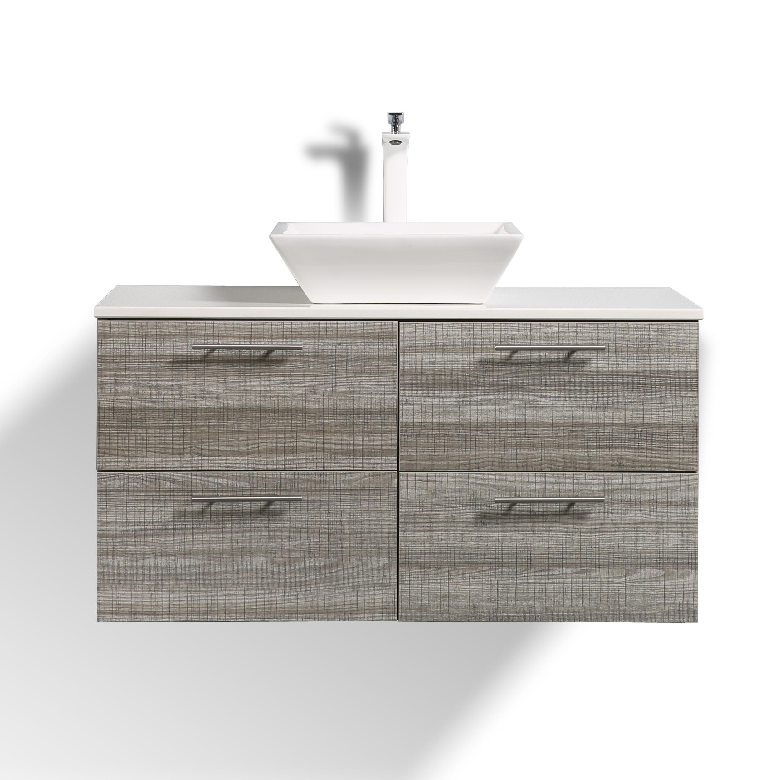 Eviva Luxury 40 Inch Ash Bathroom Vanity With Porcelain Vessel Sink