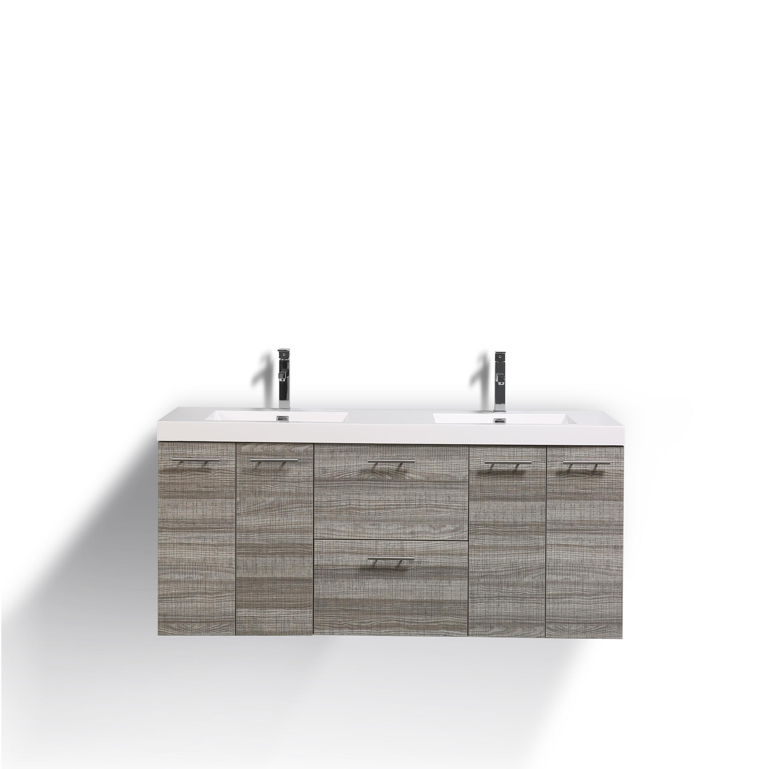 Eviva luxury 72 inch ash bathroom vanity with integrated acrylic sinks