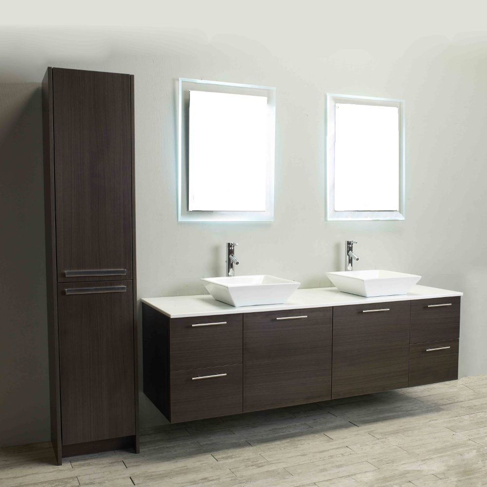 Eviva Luxury 72 Inch Grey Oak Bathroom Vanity With Top