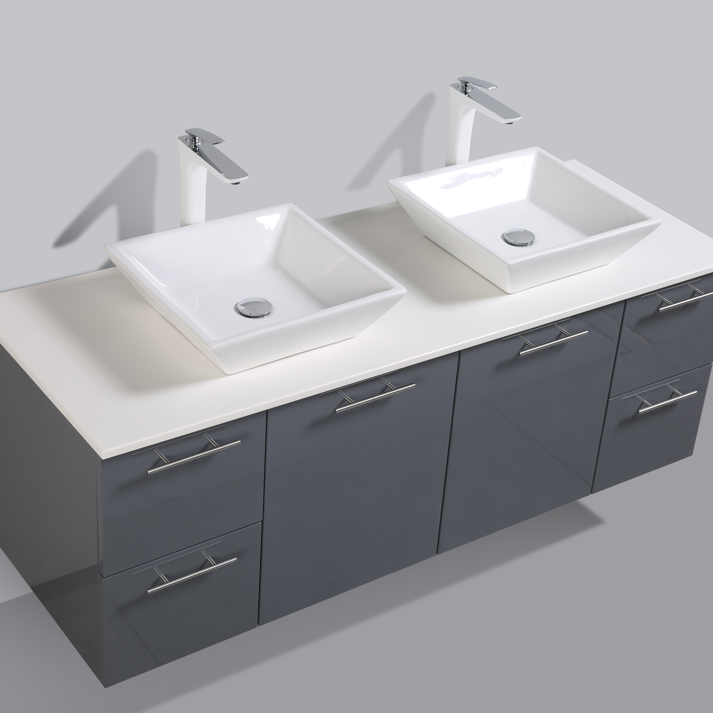 Eviva Luxury 72 Inch Gray Bathroom Vanity With Glassos Top