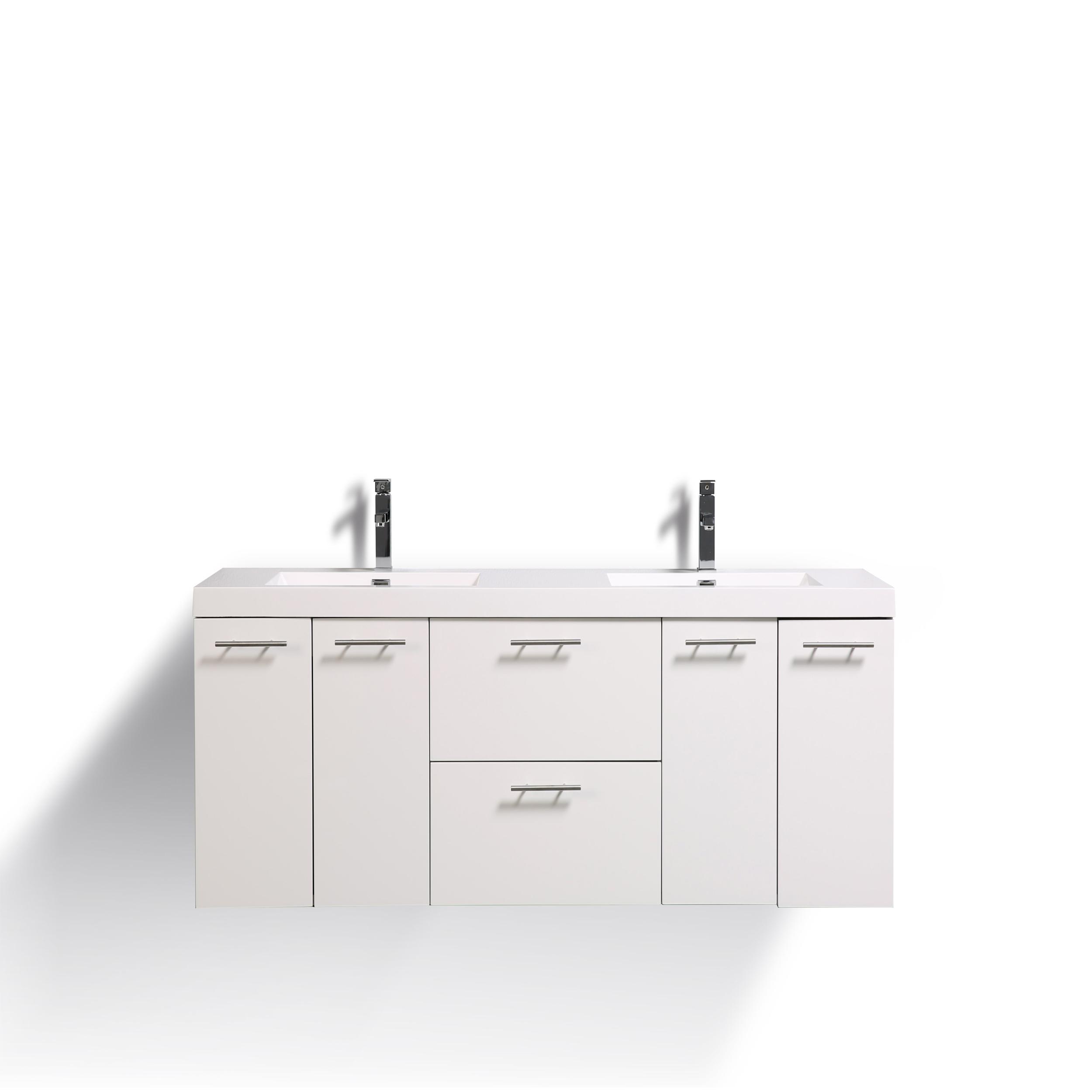 Eviva Luxury 72 inch White bathroom vanity with integrated acrylic sinks