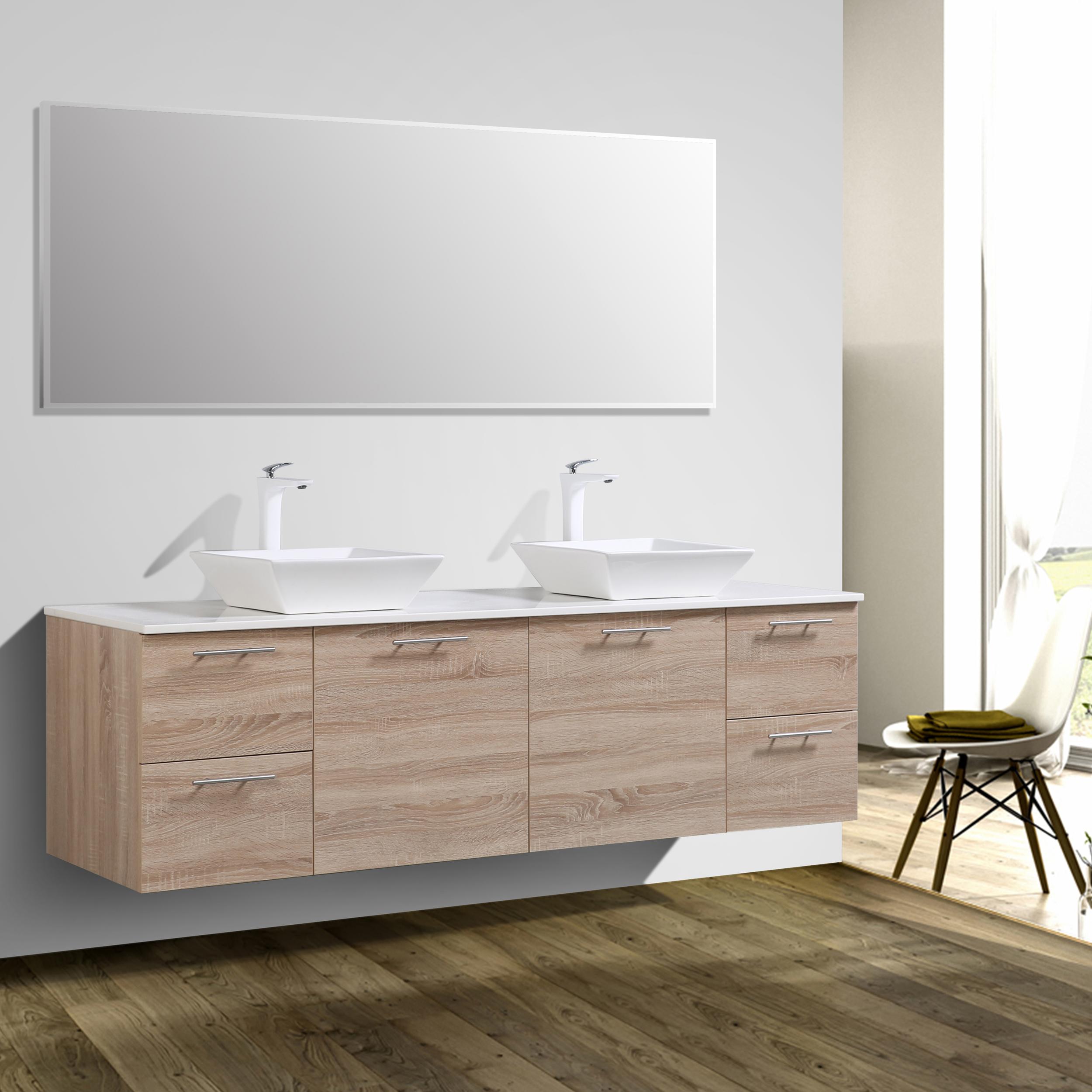 Eviva Luxury 72 inch White Oak bathroom vanity with Glassos Top and ...