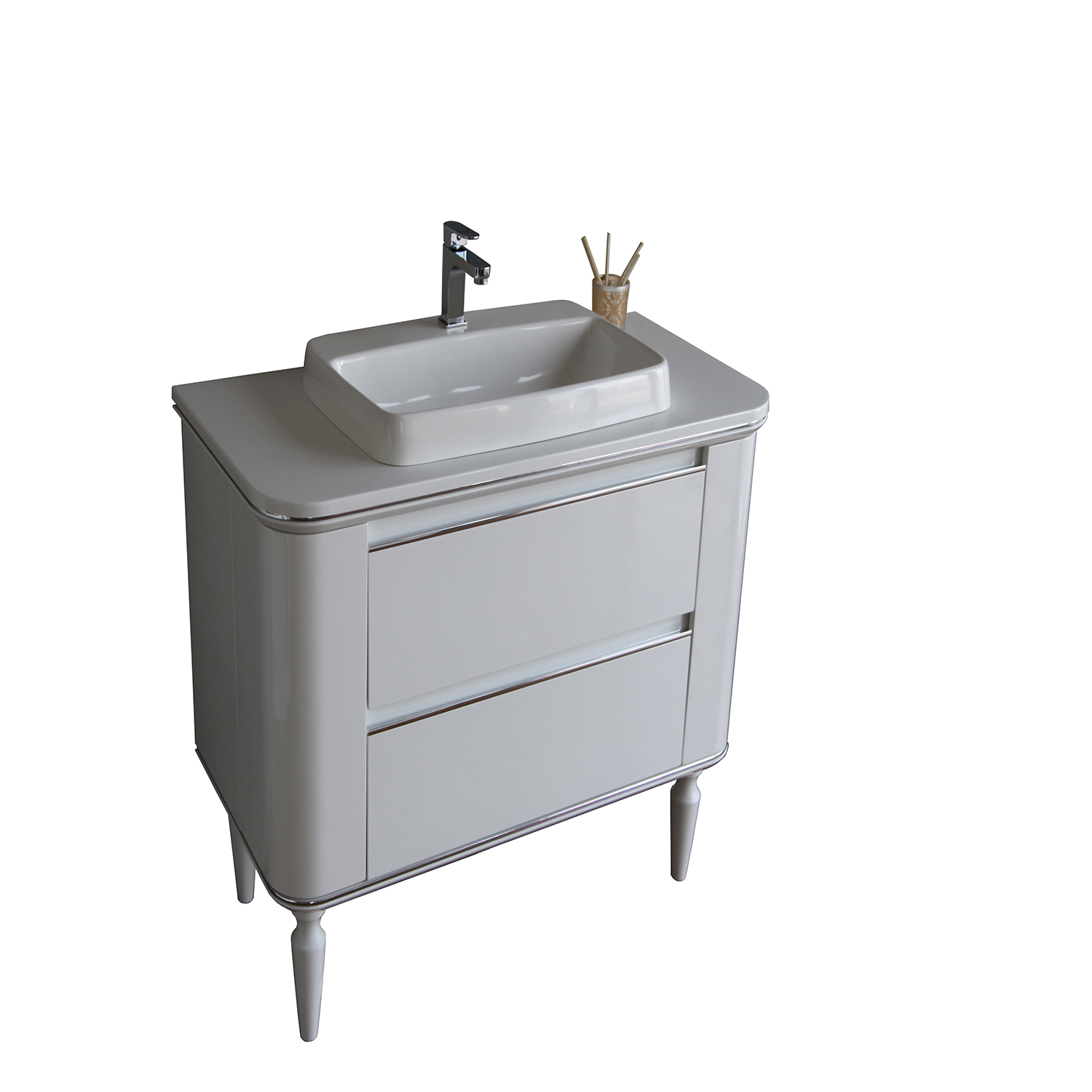 EVVN87 40WH A Main - Eviva Duva 40 in. Bathroom Vanity in White with Whtie Acrylic Countertop