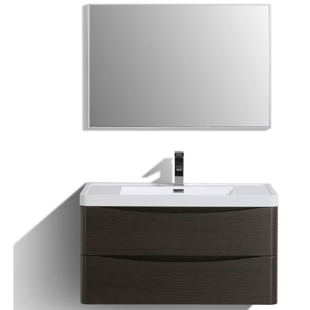 "EVVN900 36CHNT WM A Main - Eviva Smile 36"" Chest-nut Modern Bathroom Vanity Set with Integrated White Acrylic Sink"