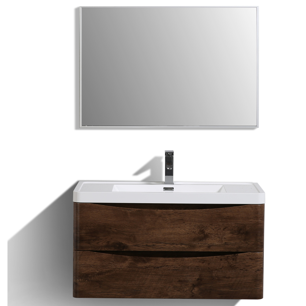 "EVVN900 36RSWD WM A Main - Eviva Smile 36"" Rosewood Modern Bathroom Vanity Set with Integrated White Acrylic Sink"