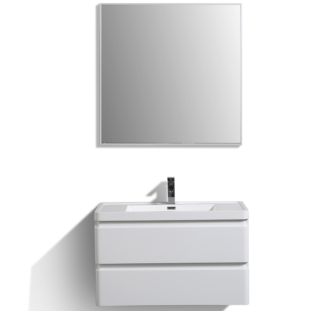 "EVVN900 36WH WM A Main - Eviva Glazzy 36"" Wall Mount Modern Bathroom Vanity (High Glossy White)"