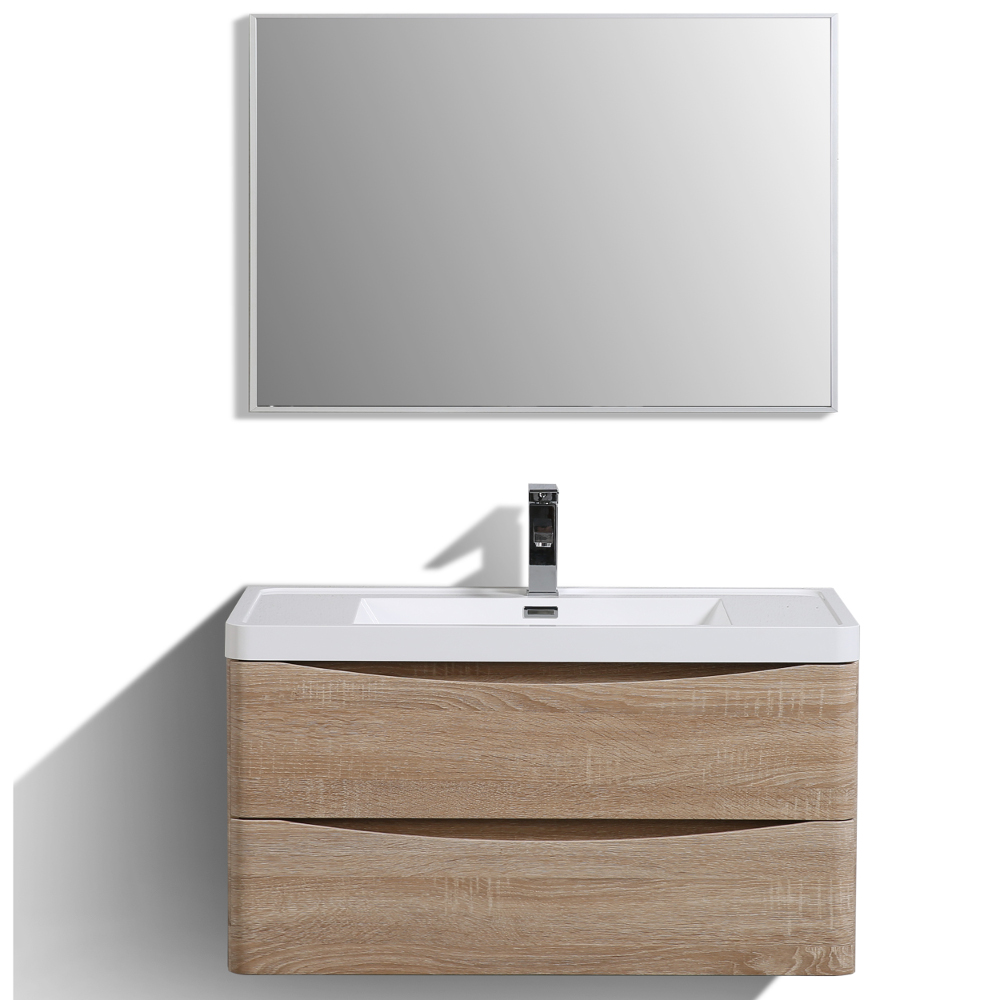 "EVVN900 36WHOK WM A Main - Eviva Smile 36"" White Oak Modern Bathroom Vanity Set with Integrated White Acrylic Sink"