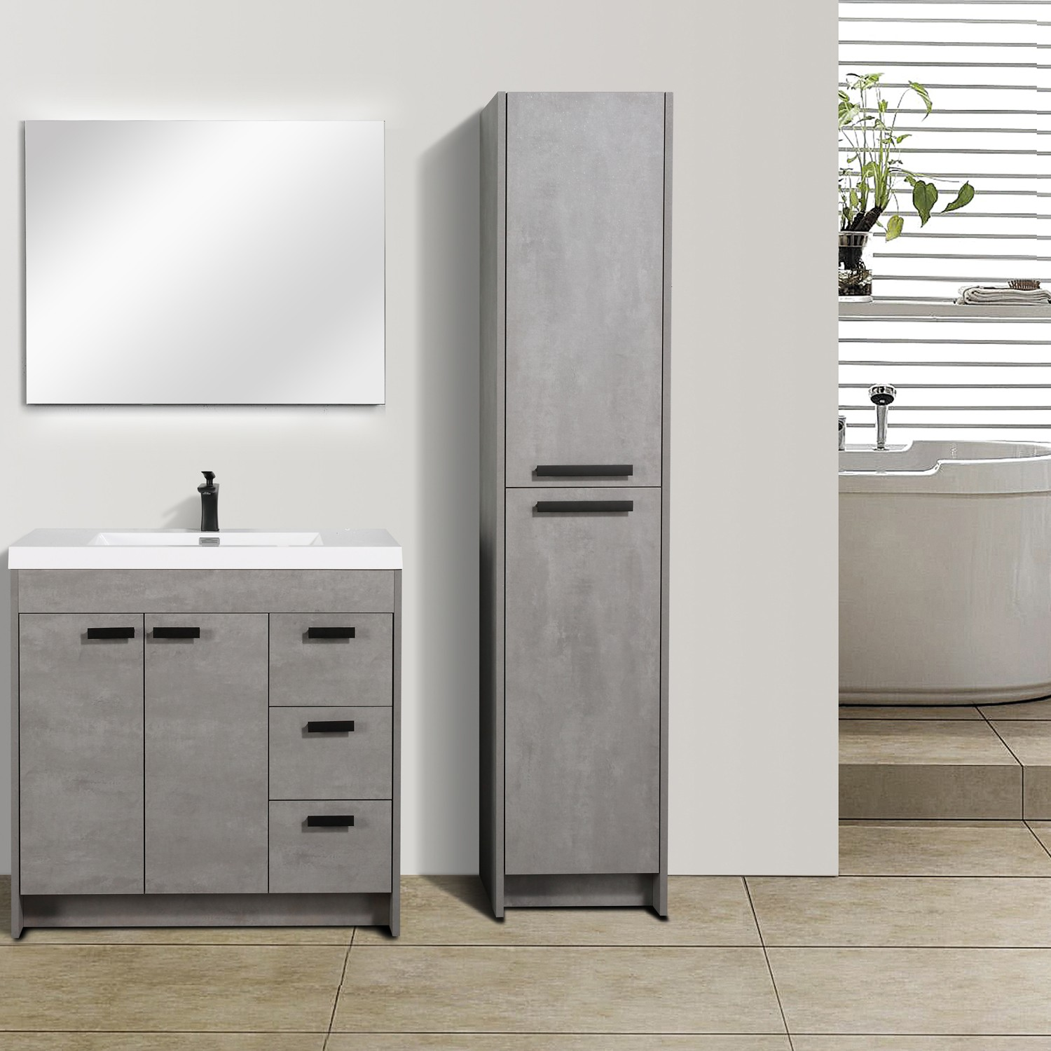 Eviva Lugano 36 Cement Grey Modern Bathroom Vanity With White Integrated Acrylic Sink Decors Us