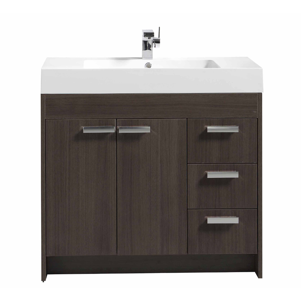 "EVVN900 8 36GOK A Main - Eviva Lugano 36"" Grey Oak Modern Bathroom Vanity with White Integrated Acrylic Sink"