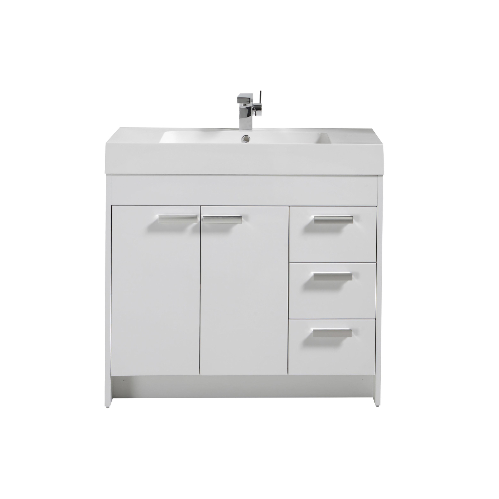 """EVVN900 8 36WH A Main - Eviva Lugano 36"""" White Modern Bathroom Vanity with White Integrated Acrylic Sink"""