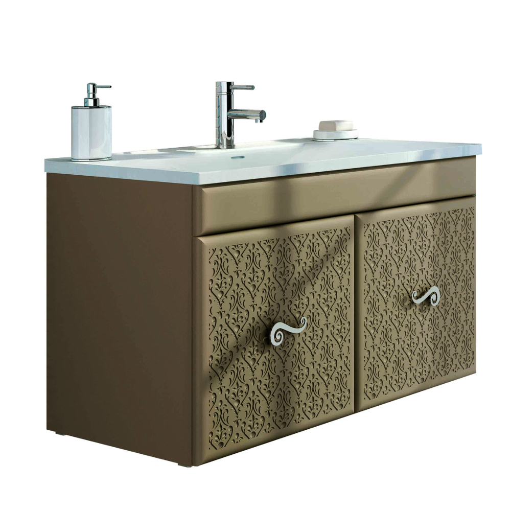 Eviva Venice 32″ Brown Modern Luxury Bathroom Vanity With White Porcelain  Integrated Sink.