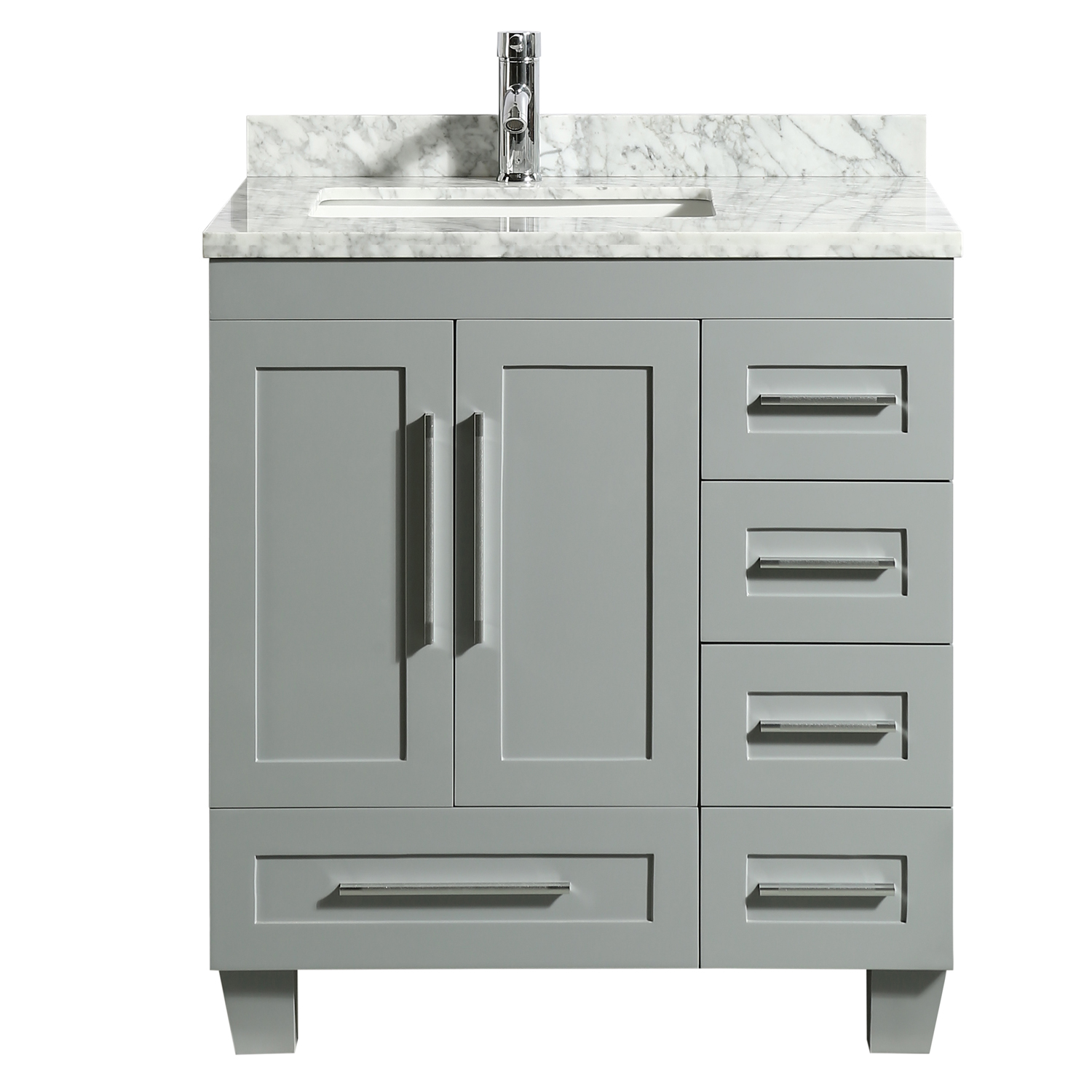Eviva Loon 30 Long Handles Acclaim Edition Transitional Gray Bathroom Vanity With White Carrera Marble Counter Top Decors Us