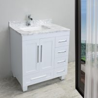 """EVVN999 30WH A 01 1 202x202 - Eviva Loon 30"""" Long Handles (Acclaim Edition) Transitional White Bathroom Vanity with white carrera marble counter-top"""