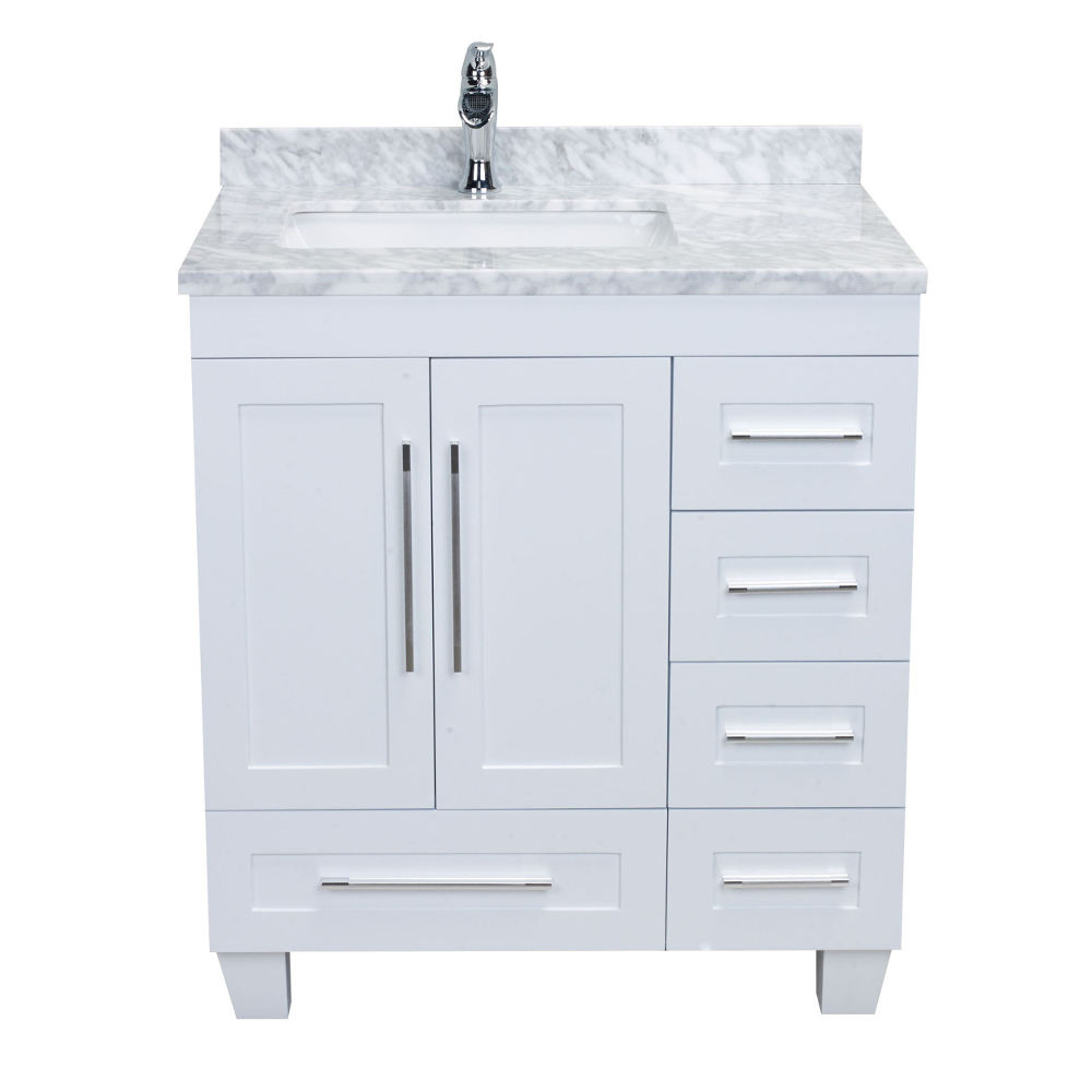 """EVVN999 30WH A Main 1 - Eviva Loon 30"""" Long Handles (Acclaim Edition) Transitional White Bathroom Vanity with white carrera marble counter-top"""