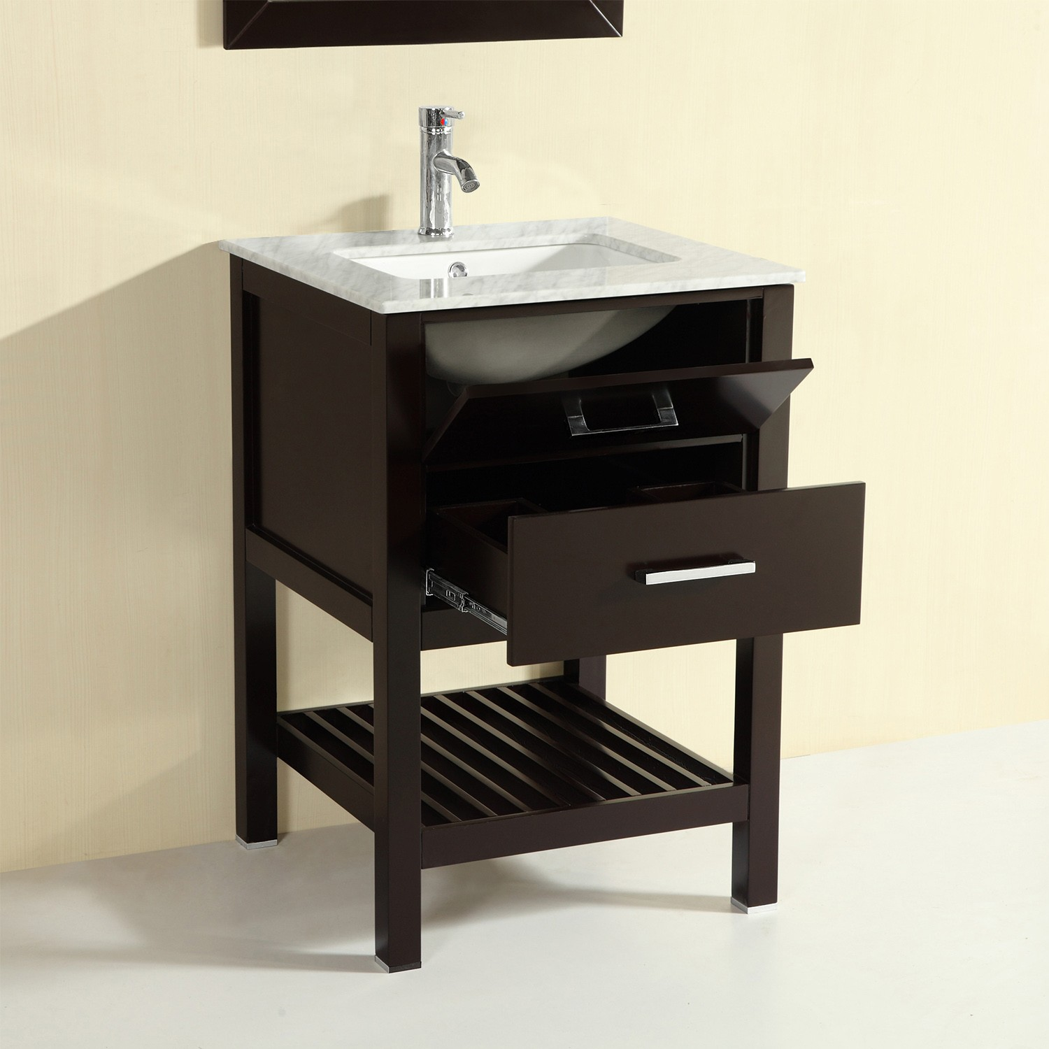 Eviva Natalie F 24 Espresso Bathroom Vanity With White Jazz Marble Counter Top White Undermount Porcelain Sink Decors Us