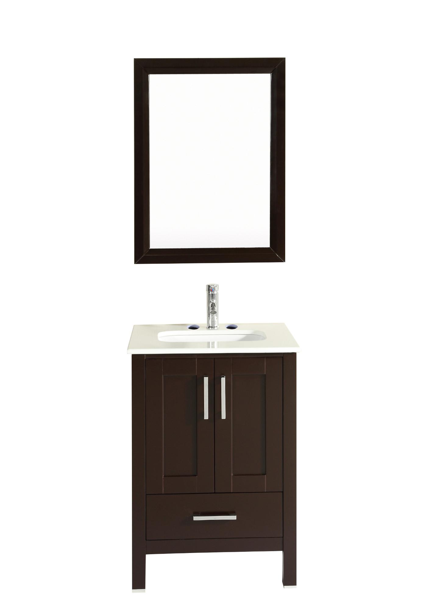 "TVN299 24ES A Main - Totti Shaker 24"" Transitional Espresso Bathroom Vanity with White Carrera Countertop"
