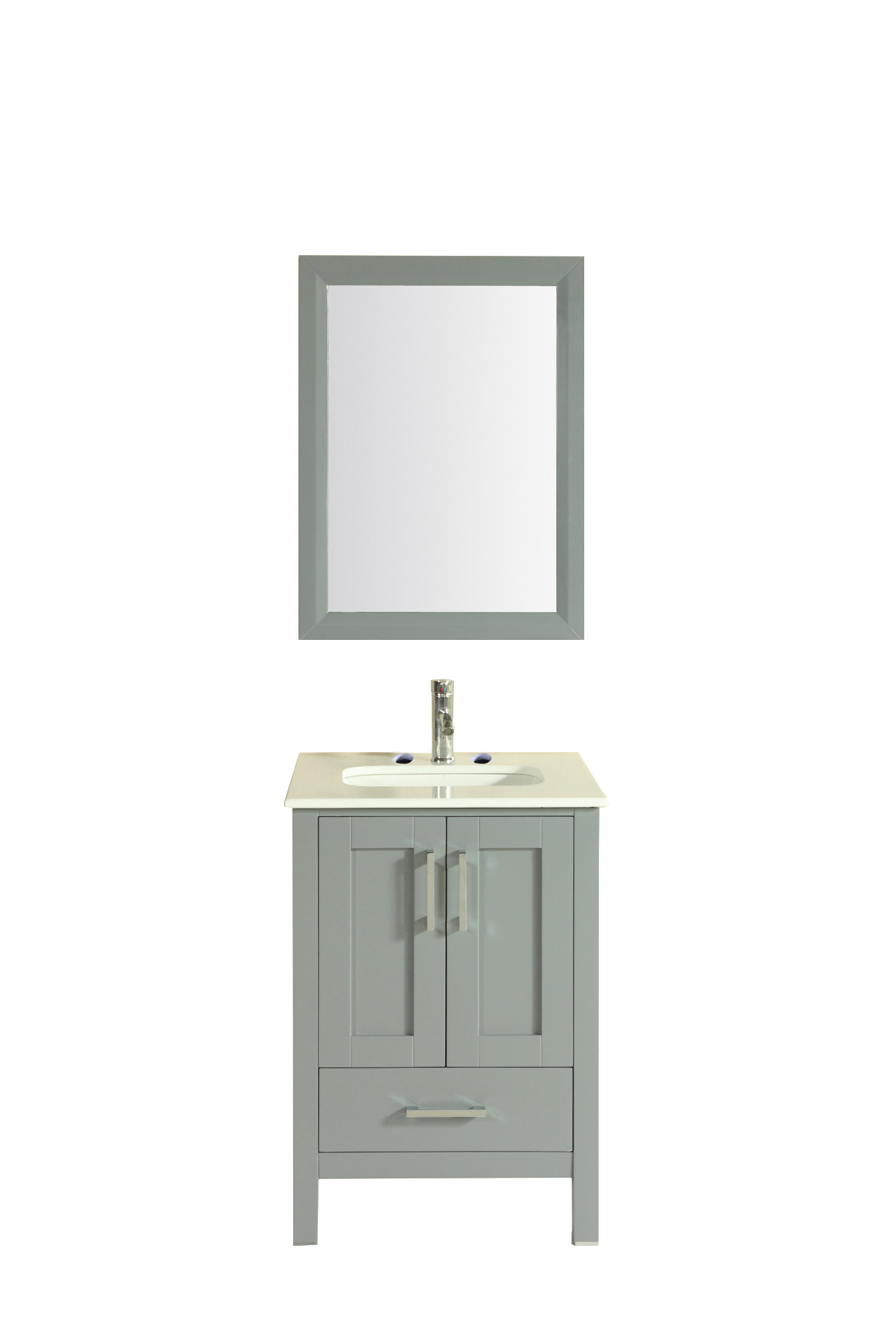 """TVN299 24GR A Main - Totti Shaker 24"""" Transitional Grey Bathroom Vanity with White Carrera Countertop"""